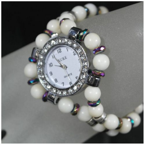 Montre bracelet perles Tagua naturelles
