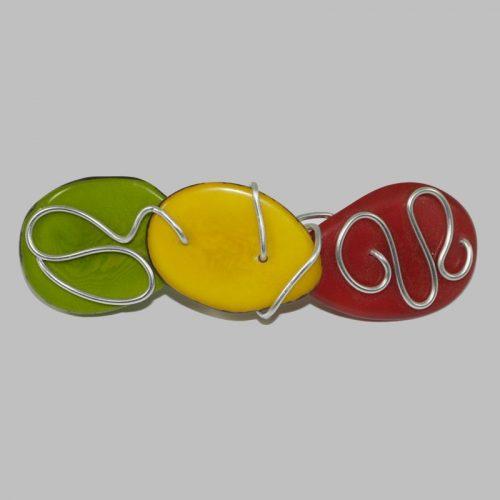 Barrette tranches de tagua teintées