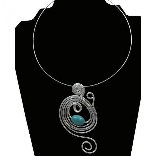Tour de cou perle tagua olive bleu