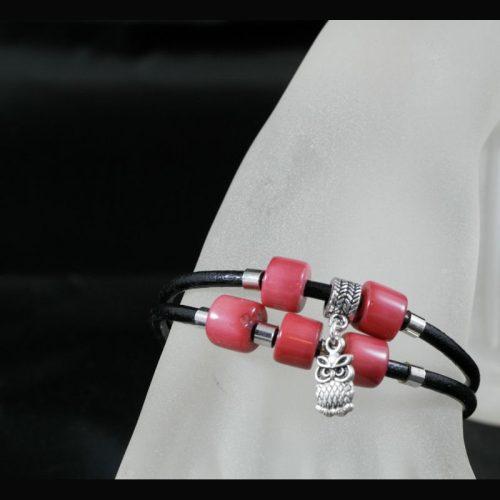 Bracelet perles tagua et cuir
