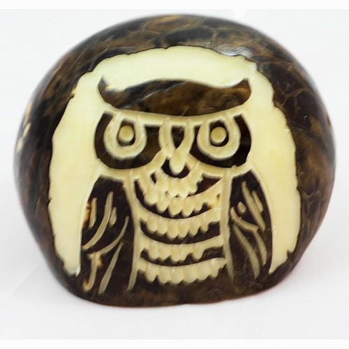 Hibou gravé sur la graine de tagua