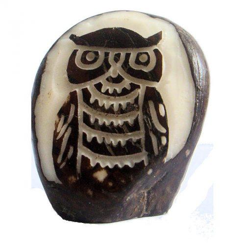 Graine de tagua gravure hibou