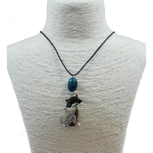 Pendentif chat en alliage et perle de tagua teintée bleu