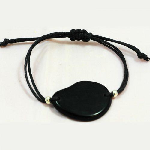 bracelet tranche de tagua teinte noir