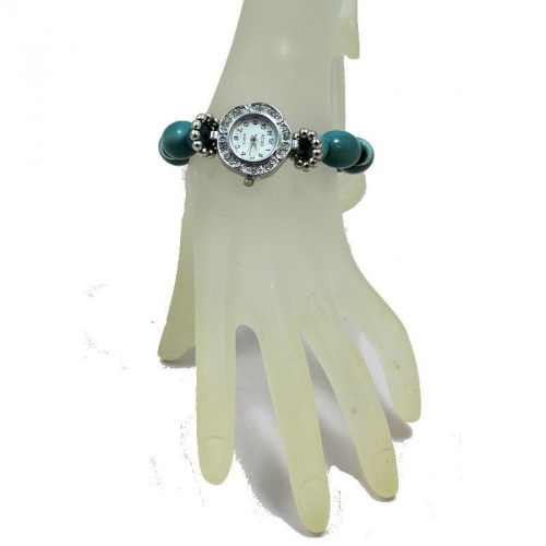 Montre bracelet perles Tagua teintées bleu