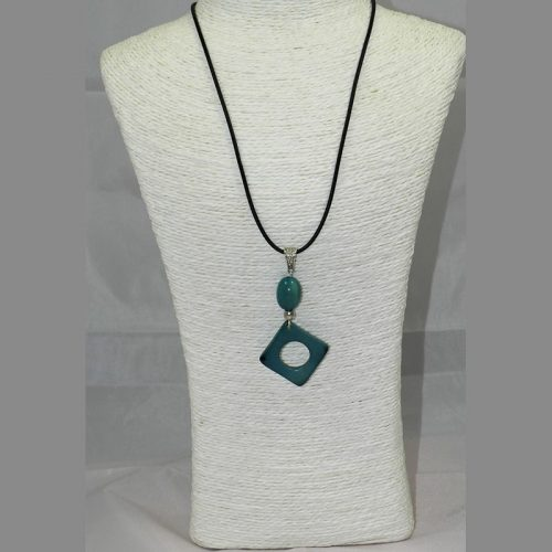 Pendentif design tagua teintée bleu