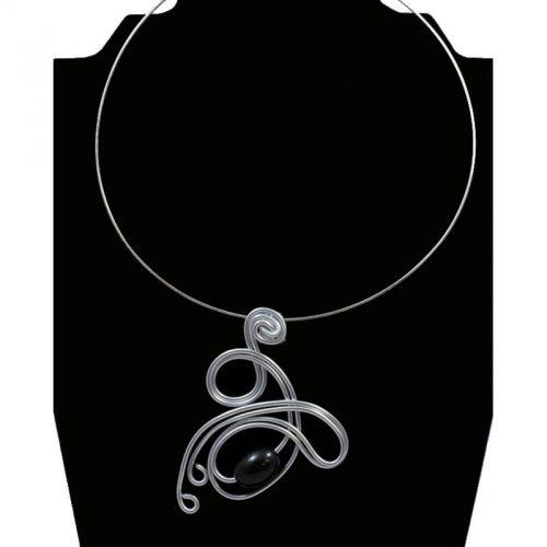 Tour de cou perle tagua olive noir