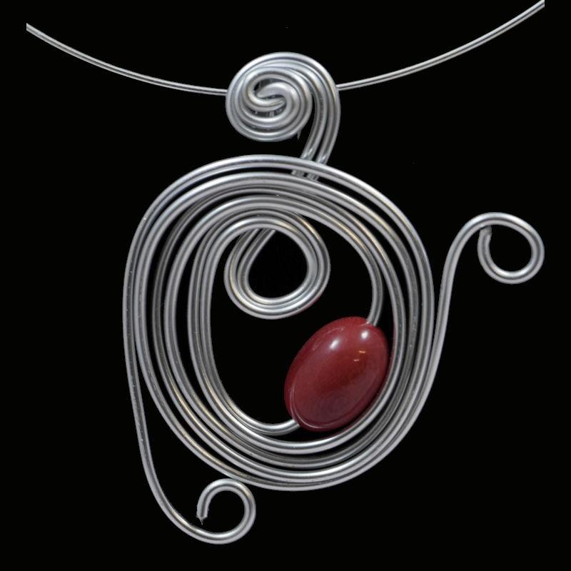 Tour de cou perle tagua olive rouge
