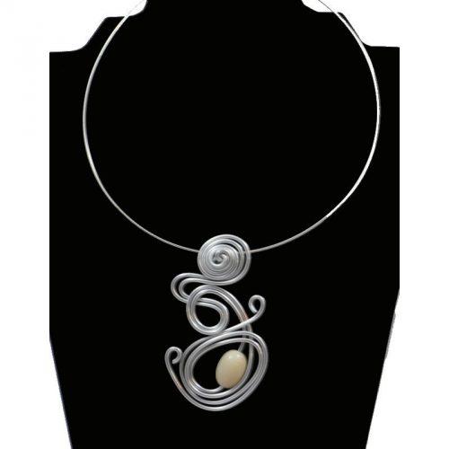 Tour de cou perle tagua olive blanc