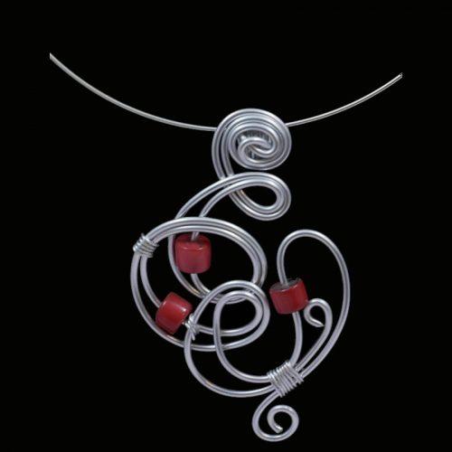 Tour de cou perle tagua rouge