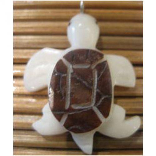 Pendentif tagua tortue de mer cafe
