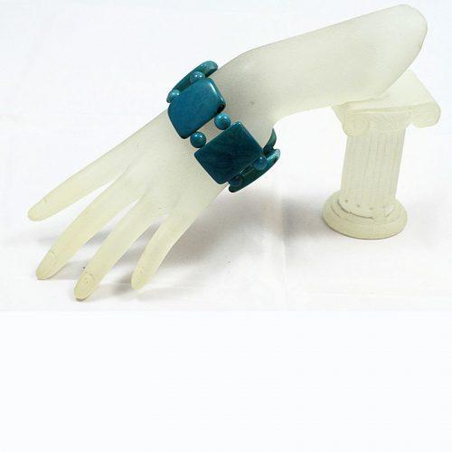 Bracelet plat tagua bleu