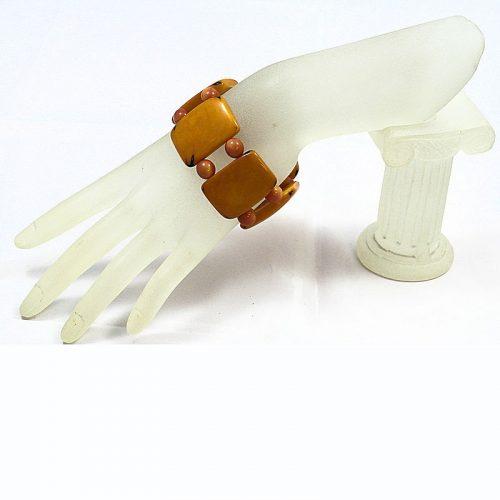 Bracelet plat tagua orange