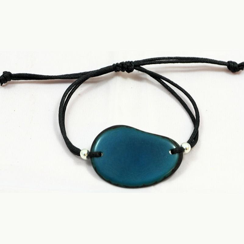 bracelet tranche de tagua teinte bleu le site de l. Black Bedroom Furniture Sets. Home Design Ideas