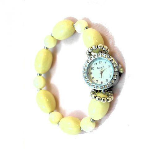 Montre bracelet perles Tagua couleur naturelle
