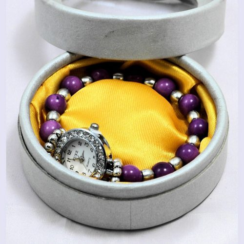 Montre bracelet perles Tagua teintées violet