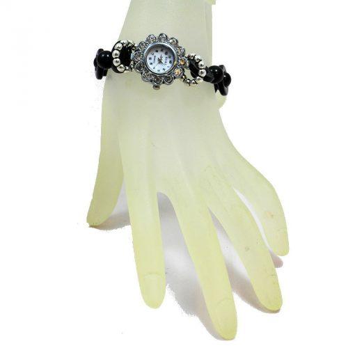 Montre bracelet perles Tagua teintées noir